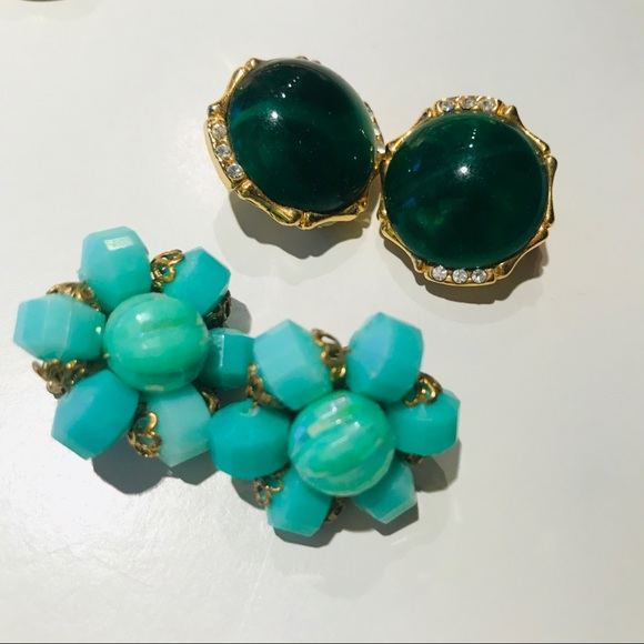 Vintage Jewelry - Vintage Clip Ons Bundle - Green & Turquoise
